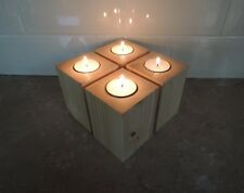 Tealight Candle Holder / Holders (Set of 4) - Pine Wood Reclaimed
