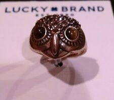 Lucky Brand Gold-Tone Crystal Owl Head Ring size 7