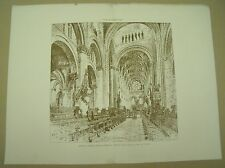 CHRIST CHURCH CATHEDRAL OXFORD 19th Century Antique Architecture Plate 1889*