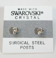 Silver Crystal Heart Stud Earrings 5mm Made with Swarovski Elements Gift