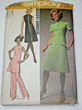 S-9158 VTG 70's Dress Tunic Pants Sewing Pattern Simplicity Bust 40 Complete
