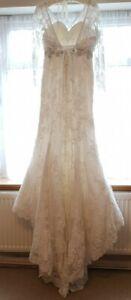 Long sleeve wedding dress 12 bridal mermaid gown crystal bead sequin lace beauty