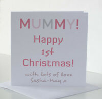 Mummy 1st First Christmas Card from the Baby Newborn Son Daughter Twins Child