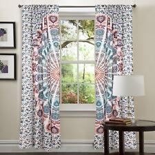 Indian Peacock Bohemian Mandala Curtains 2 PC Cotton Printed Window Curtain New