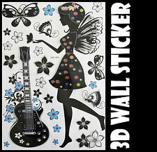 3D Guitar Girl Wall Sticker decals Home Decor Decoration Wallpaper Room Art