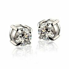 1 par Pendientes de diamantes de imitacion de iman Pendientes hombre Blanco C6Z2