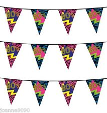6m 80s Partyware Retro Reflex Neon Birthday Party Flag Bunting Decoration Banner