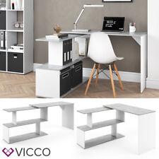 VICCO Eckschreibtisch LEVIA Beton Weiß - PC Tisch Arbeitstisch Computer Büro