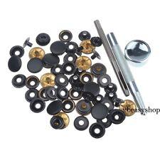 Heavy Duty Black Matt Snap Fasteners 17mm 15 Sets Press Studs Kit Buttons Tool