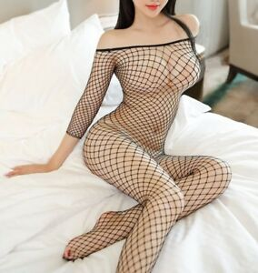 Sexy Fishnet Crotchless Long Sleeve Bodystocking, Night Fetish Hen Party Wear