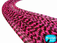 Hot Pink Thin Long Grizzly Rooster Feathers & Silicon Bead