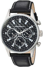 Peugeot Men's 'Multi Dial' Quartz Stainless Steel And Leather Sport Watch,