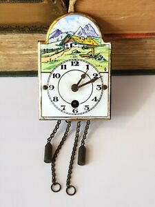 Vintage-German-Miniature Hand Painted Enamel/Brass Pendulum Wall Clock