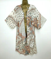 M & Co Kaftan Kimono Jacket UK Size 10 Cream Orange Beach Womens Summer Holiday