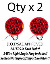 "4"" Inch Red 24 LED Round Stop/Turn/Tail Truck Trailer Light + 3 Wire Plug- Qty 2"