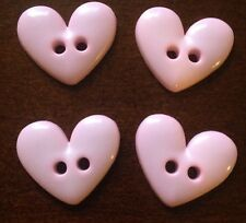 4x Medium Pastel Pink Heart Plastic Buttons - Australian Supplier