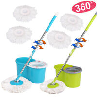 iKayaa Press Stainless Steel 360°Spin Mop & Bucket Set Rotating Floor Mop