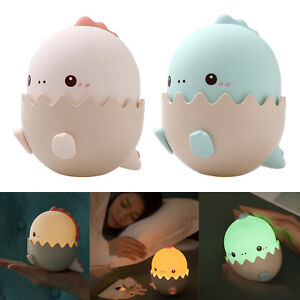 USB Rechargeable Night Light Lamp Silicone Dinosaur Color Change Kids Room
