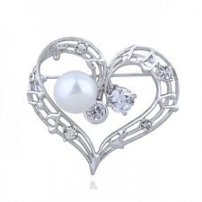 18K WHITE GOLD PLATED GENUINE CLEAR CUBIC ZIRCONIA & WHITE PEARL HEART BROOCH