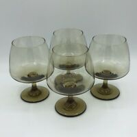 Vintage Libbey Tawny Accent 12oz Brandy Snifter Glass Set Of 4 MCM Discontinued