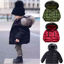 Toddler Kids Baby Boy Winter Warm Cotton-padded Hooded Coat Thick Jacket Outwear