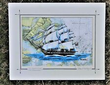 USS Constitution art print map US naval warship veteran tall ship sailing gift