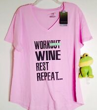 Tek Gear Dry Tek Size XL NWT Pink WORKOUT WINE ETC Graphic SS Tee Top