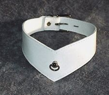 Genuine Leather Collar, Post & D Ring, White V Collar, Locking, Hand crafted