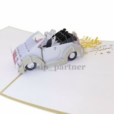 Wedding Car Invitation Fashion Gift 3D Greeting Card Pop Up Cards With Envelope