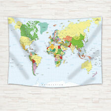 Detailed World Map Tapestry Wall Hanging for Living Room Bedroom Dorm Decor