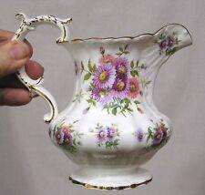 Vintage Hammersley Bone China Milk Pitcher Pink Purple Asters Gold Trim NICE!!