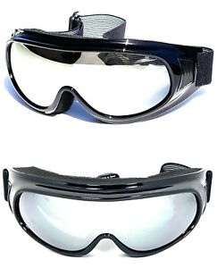 MOTORCYCLE GOGGLES FIT OVER PRESCRIPTION GLASSES SIDE VENTS CHOICE LENS COLOR