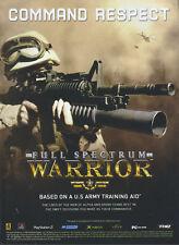 "Full Spectrum Warrior ""command Respect"" 2005 Magazine Advert #4776"