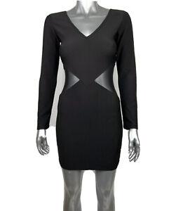 Nella Fantasia Women's Dress V Neck Long Sleeve Edgy Black Mesh Cutout Small