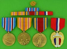 4 WWII Medals, Ribbon Bar, Honorable Service Device - Pacific / Philippines WW2
