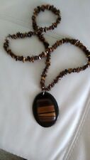 Artisan Handcrafted Large Tiger's Eye Onyx Pendant Nugget Strand Necklace