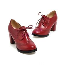 Ladies Block Heels Pumps Oxfords Womens British Brogue Wing Tip Lace Up Shoes