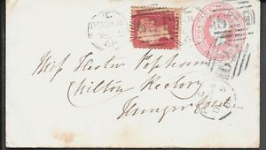 DORSET 1861 P/S 1d PINK ENV. UPRATED POOLE 624 BOURNEMOUTH AND HUNGERFORD CDS
