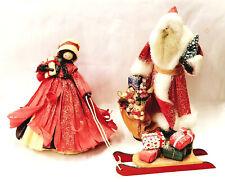Vintage Nan's Corn Husk Dolls Santa Claus & Mrs Christmas 1990 RARE