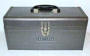 """Vintage CRAFTSMAN Steel Metal TOOLBOX, 16""""x 7""""x 7.5"""", Gray"""