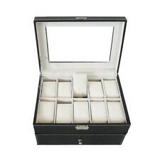 Caja de Relojes, 20 Relojes con cajón y pantalla, Negro/Beige