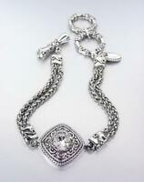 Double Silver Wheat Cable Chains Square Filigree Crystal Toggle Rings Bracelet