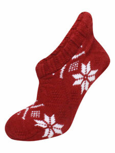 Polo Ralph Lauren Women's Snowflake Slipper Socks Cable Knit
