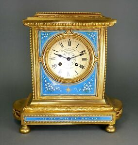 Antique French Bronze Gold Ormolu Limoges Enamel Seed Pearl Howell James Clock