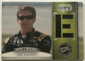 2011 PRESS PASS ECLIPSE SPELLBOUND CARL EDWARDS RACE USED SHIRT CARD 44/250