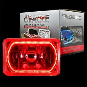 "ORACLE 4""x6"" Sealed Beam Single Headlight + ORACLE Pre-Installed Red SMD Halo"