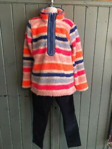 Girls Fluffy Striped Zip Fleece Top - Joules - 6 Years - Good Condition