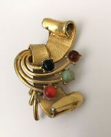 Vintage 60's Atomic Brooch SIGNED Holywood Gold Tone Faux Gem Space Age