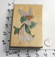 Wooden RUBBER STAMP Dancing Angel by Stamps Happen - Christmas Holidays