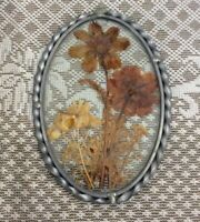 Vintage Pressed Dried Flowers In Glass & Pewter Frame Window Art with Hook